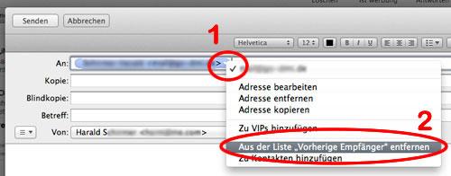 MAC OS - gemerkte eMailadressen entfernen