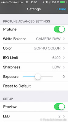 GoPro PROTUNE Settings